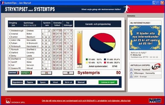 STRYKTIPSET 1X2 TIPS13 DBASESOFT Sports Statistical Soccer 1x2 Odds