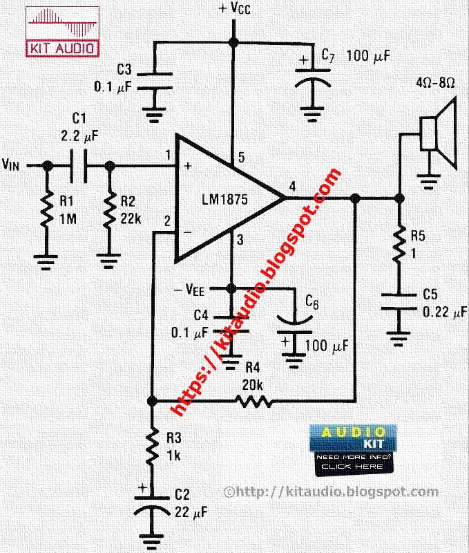 audio kit  lm1875 power audio amplifier 20 watt