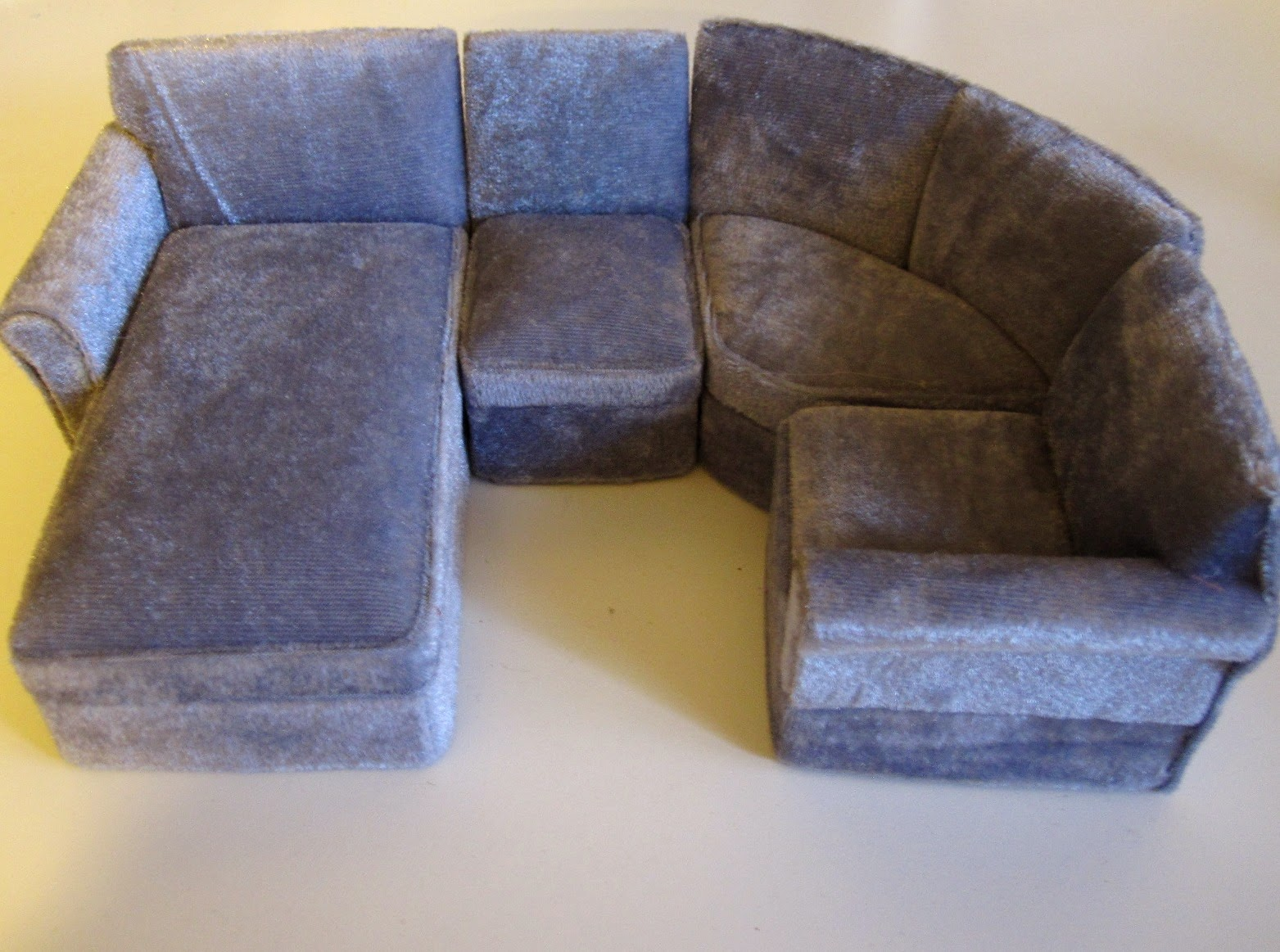 Modern dolls house miniature four piece grey velvet corner sectional sofa with chaise