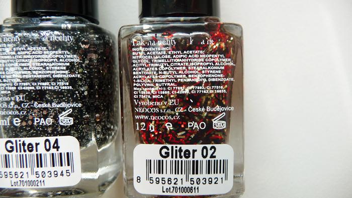 KOSMETIKA MOJE - Gliter laky č. 02, 04 a odlakovač na nehty s ricinovým olejem