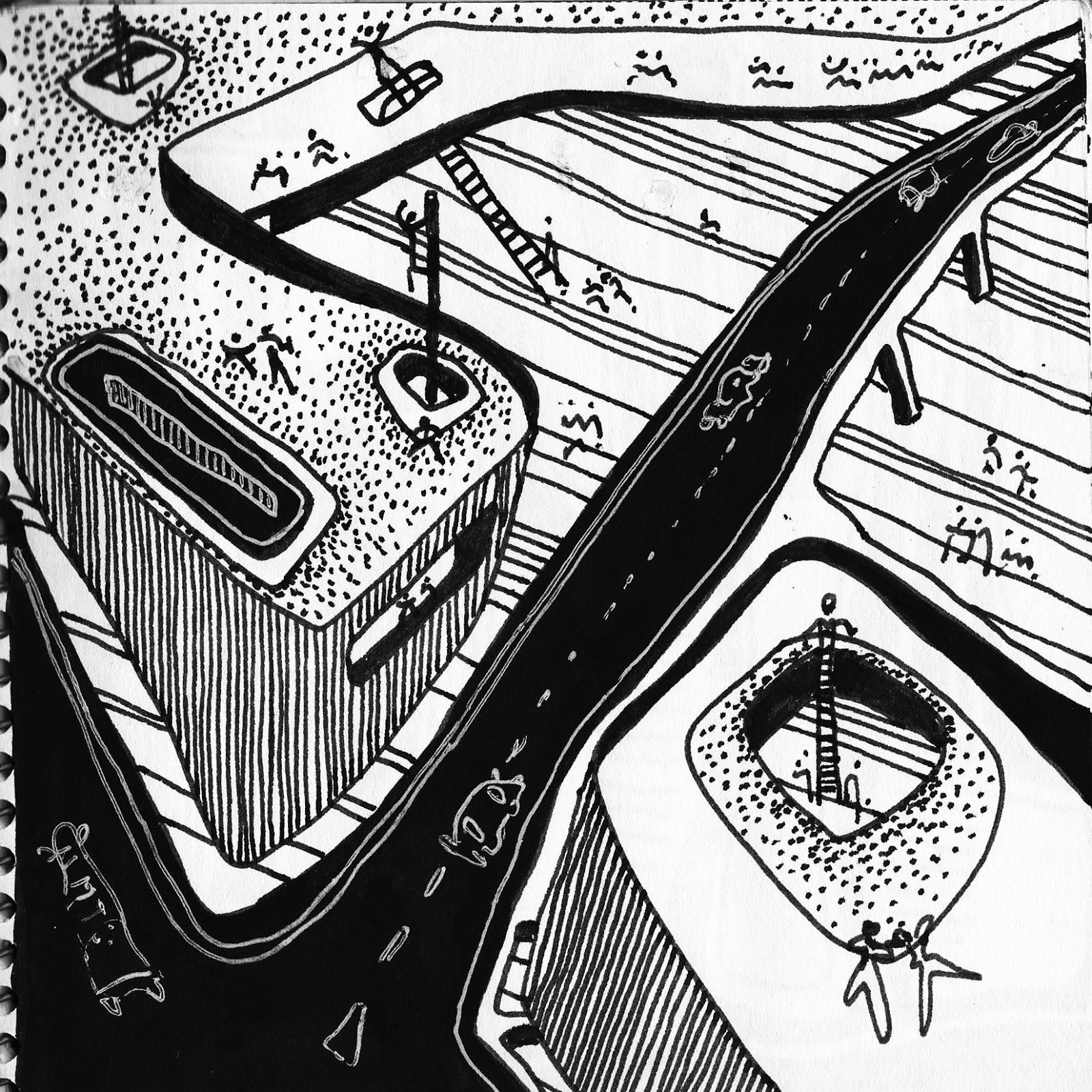 Jesus Huarte Territorio De Arquitectura Dibujos Blanco Y Negro