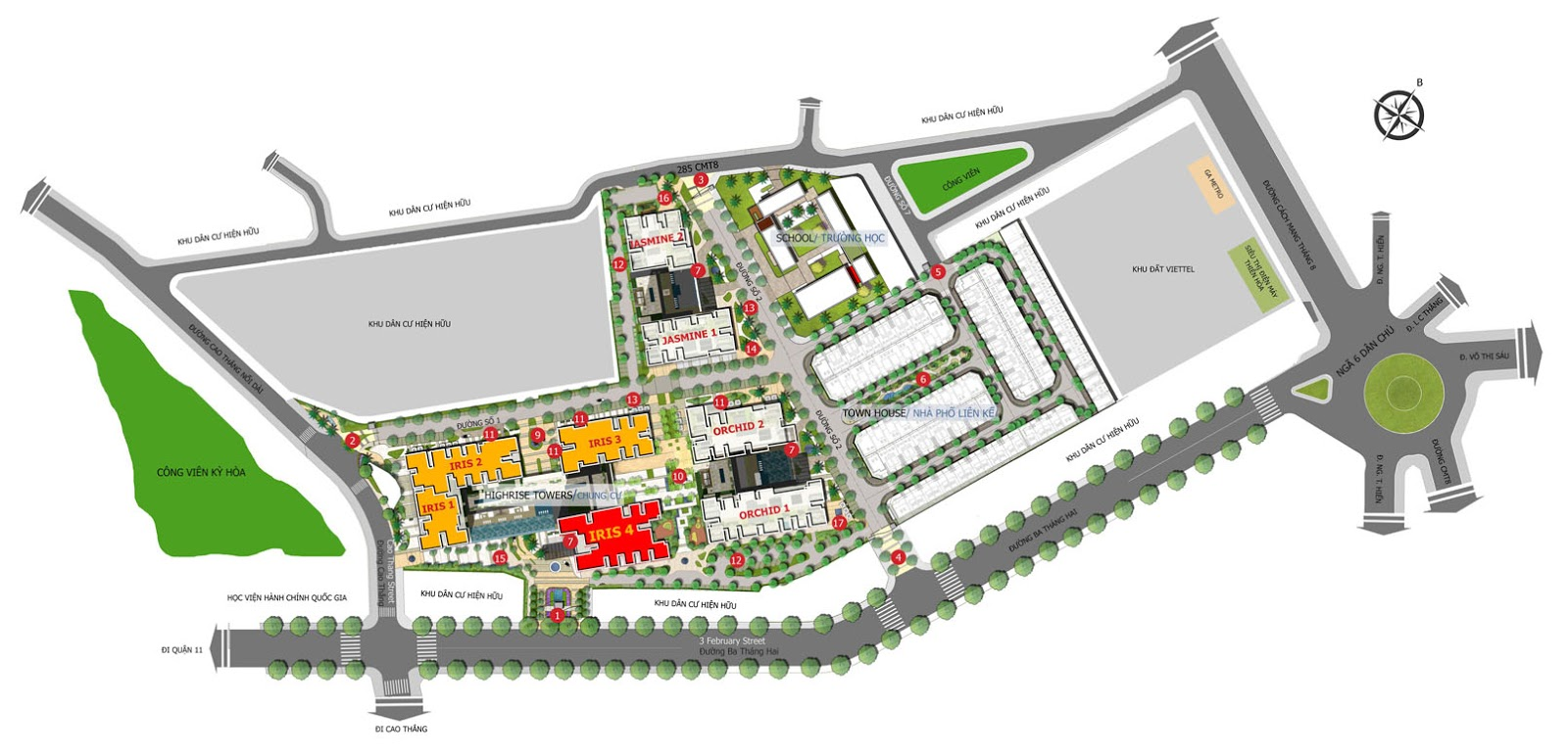 Vị trí tòa nhà Iris 4 - Hado Centrosa Garden