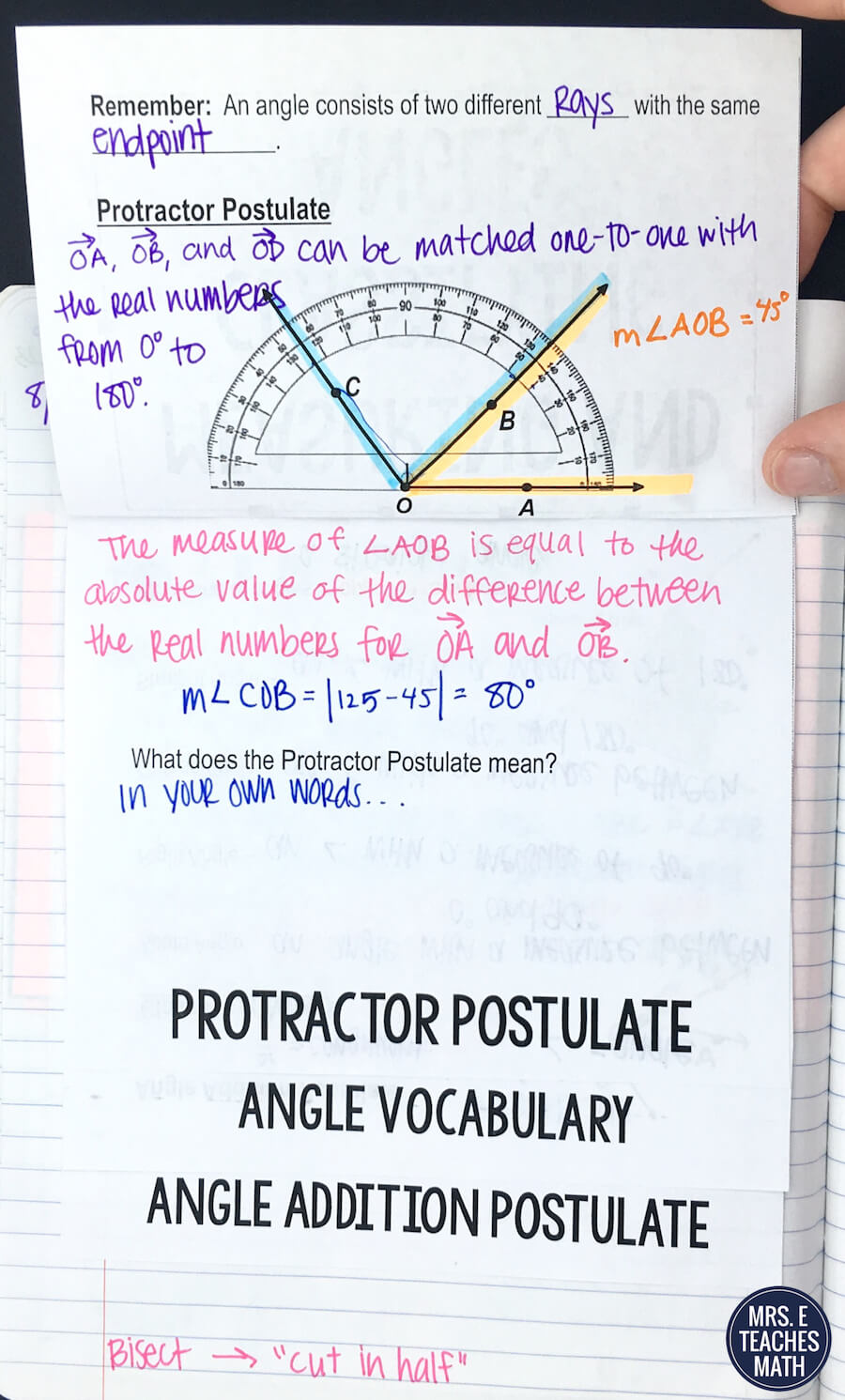 This foldable for the angle addition postulate in geometry is so helpful  for my student's notes