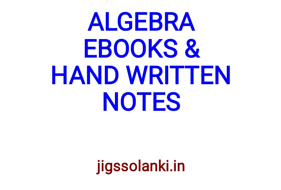 Jigs Solanki Algebra All Hand Written Note And Formulas Shortcut Trick