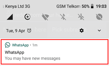 You may have new messages notification