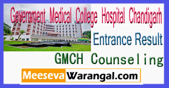 GMCH Government Medical College Hospital Chandigarh Entrance Result Counseling 2018