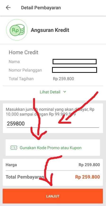 Detail Pembayaran Angsuran Kredit Tokopedia