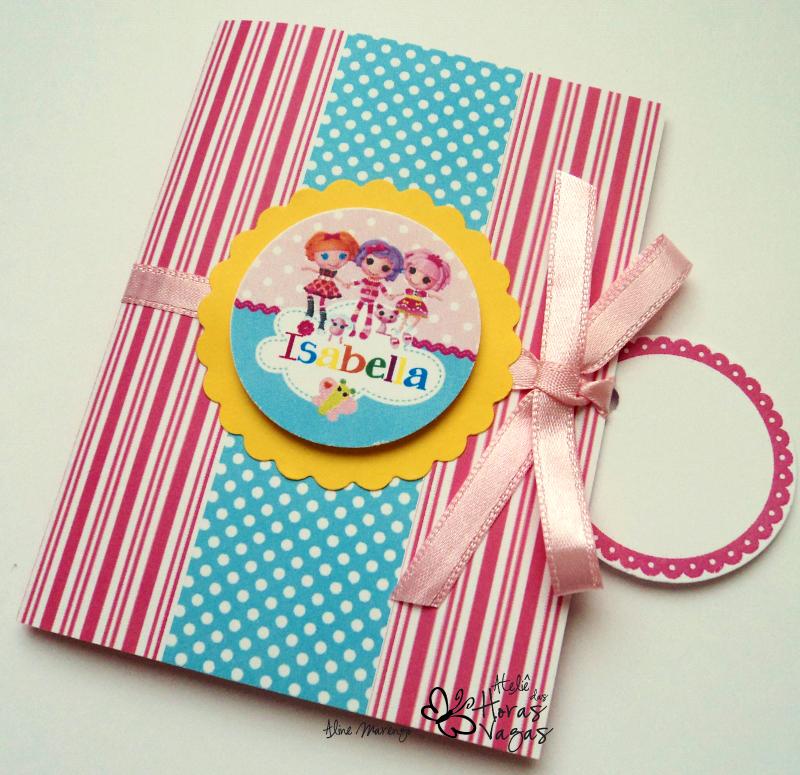 convite artesanal infantil aniversário bonecas lalaloopsy rosa pink colorido meninas festa
