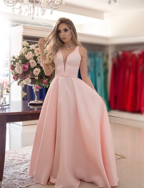 vestido longo rose para madrinha