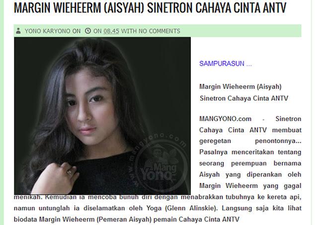 Margin Wieheerm (Aisyah) Sinetron Cahaya Cinta ANTV