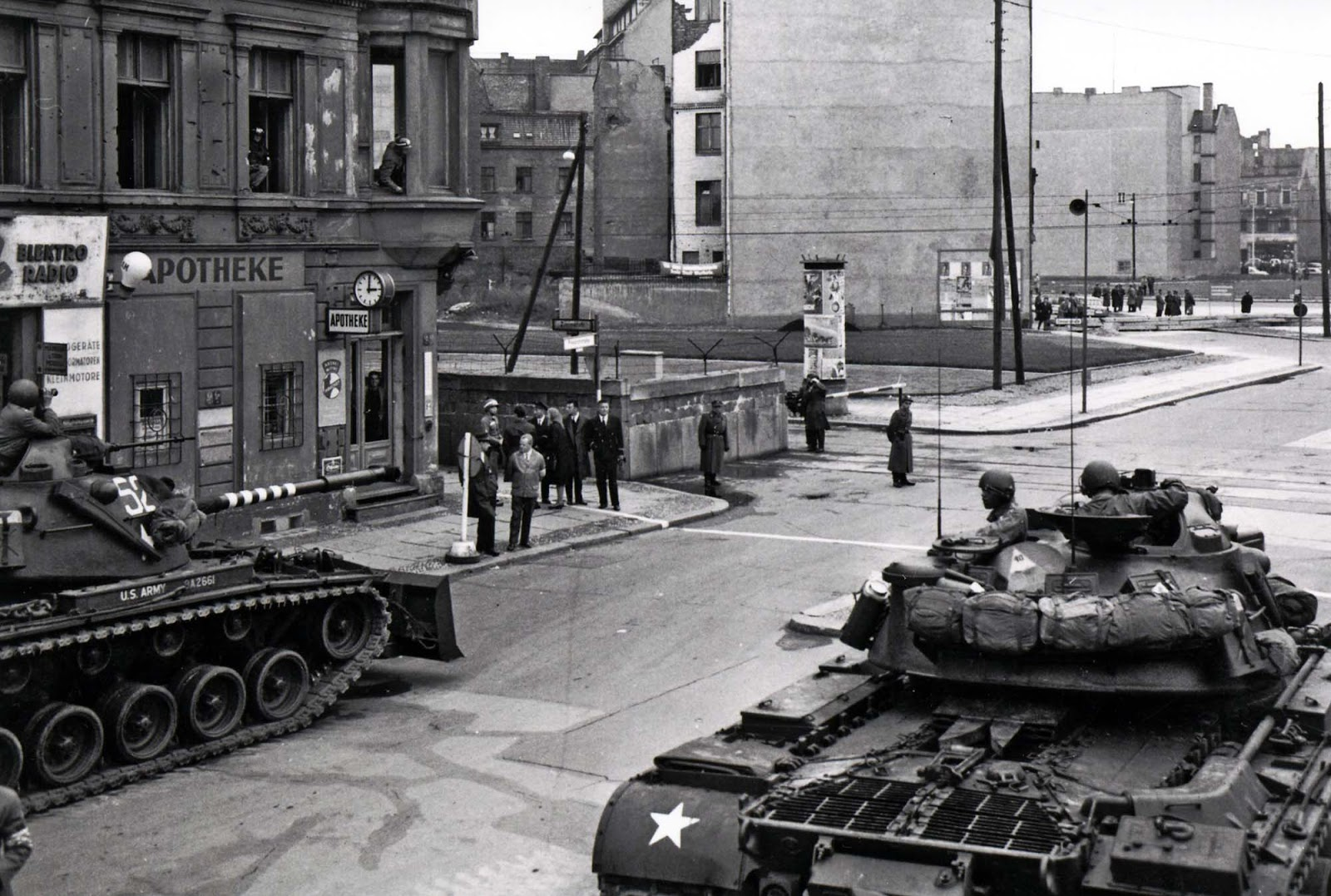 The standoff at Checkpoint Charlie: Soviet tanks facing