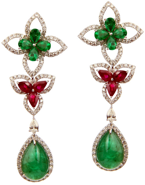 Entice diamond, emerald & ruby, Mexican shell flower earrings
