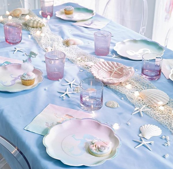 mermaid party table decoratios  mermaid party decorations - mermaid party ideas - mermaid themed birthday party - ocean theme party decorations - under the sea party - little mermaid birthday party ideas - beach party - water theme parties - mermaid table decor - party props  under the sea birthday party - under the sea theme party table