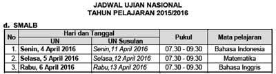 Jadwal UN Utama dan Susulan jenjang SMALB  tahun 2016