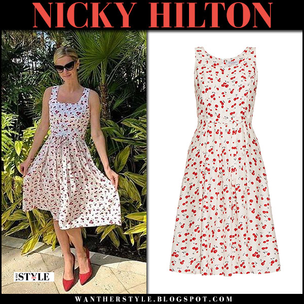 Nicky Hilton in cherry print midi dress hvn jordan and red suede pumps what she wore