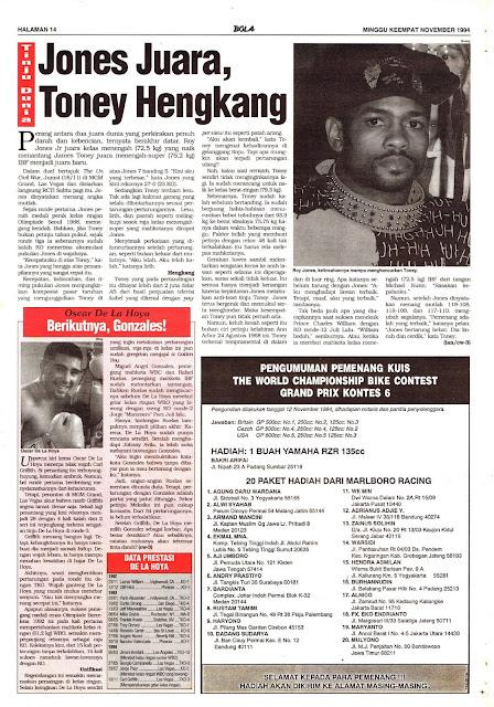 WORLD BOXING NEWS 1994 JONES CHAMPION