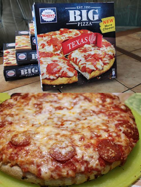 Original Wagner Big Pizza Texas - Verpackung & aufgebacken