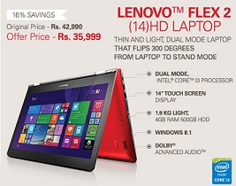 LENOVO FLEX 2 (14) LAPTOP (GREY) i3-4030U Processor, 4GB RAM, Windows 8.1 EM for Rs.35999 only @ ebay