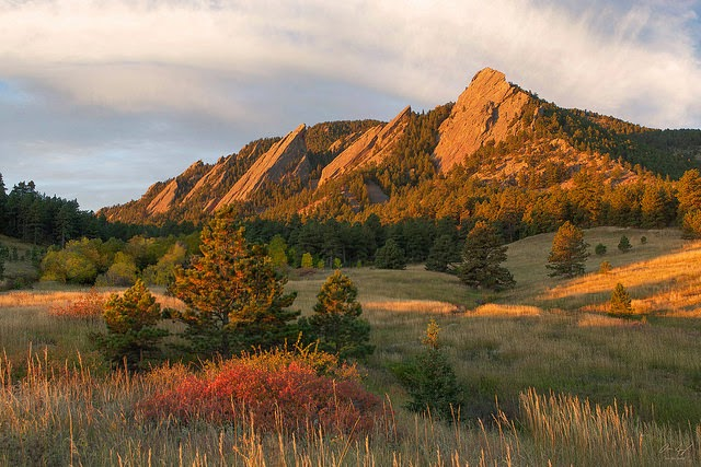 The Boulder Flatirons in Autumn from Chautauqua Park Colorado