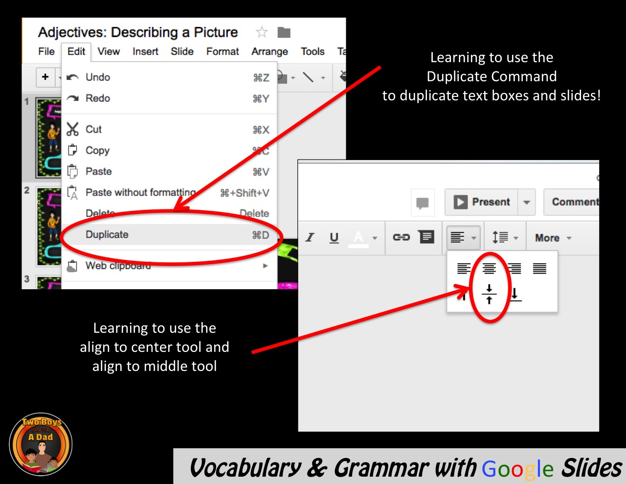 Teaching vocabulary and grammar with Google Slides