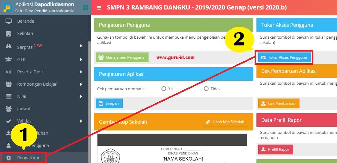 gambar menu tukar pengguna di dapodik