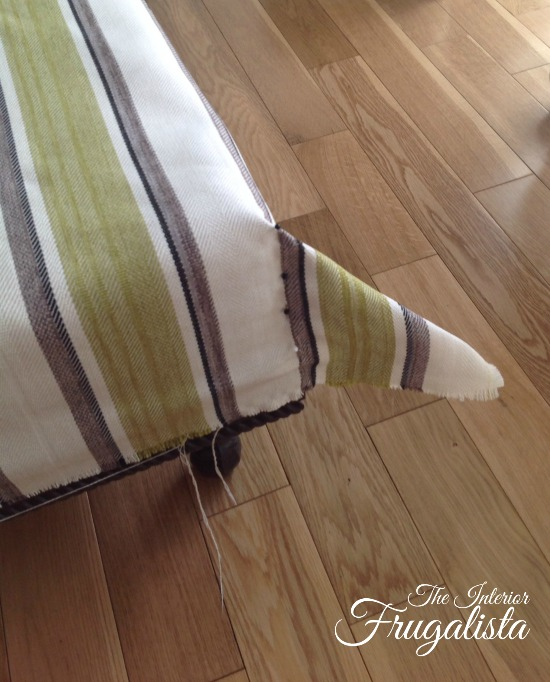 Pinning corners of reupholstered ottoman