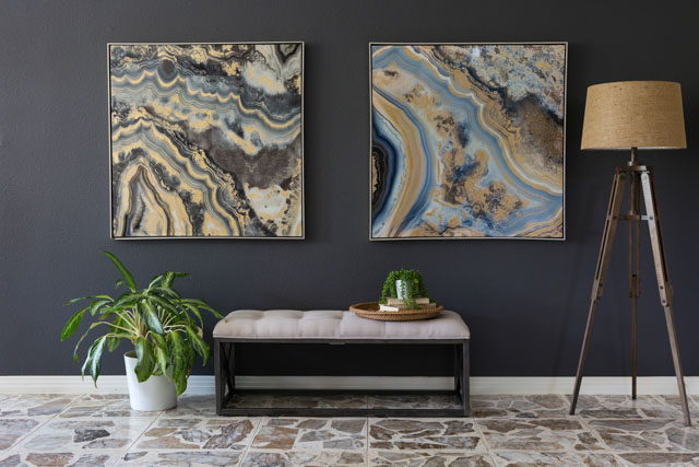 Fabulous Create a high impact focal wall with large scale art and dark paint