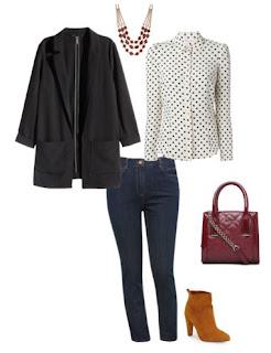 Calças de ganga com blusa às bolinhas branco e preto, casaco preto e botins camel