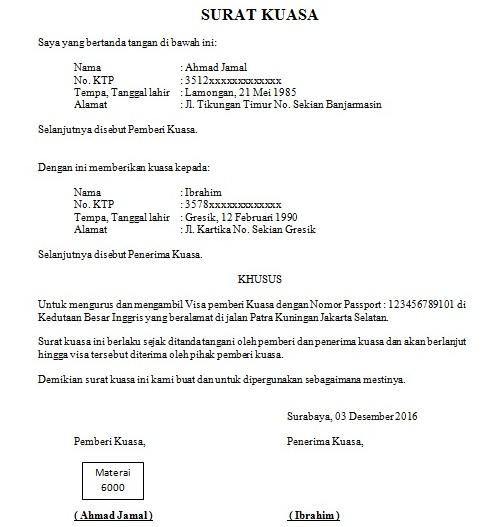 Contoh Surat Kuasa Pengambilan Visa