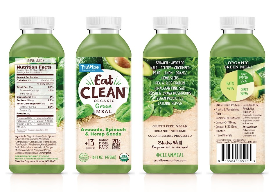 Truvibe Eat Clean meal drink packaging