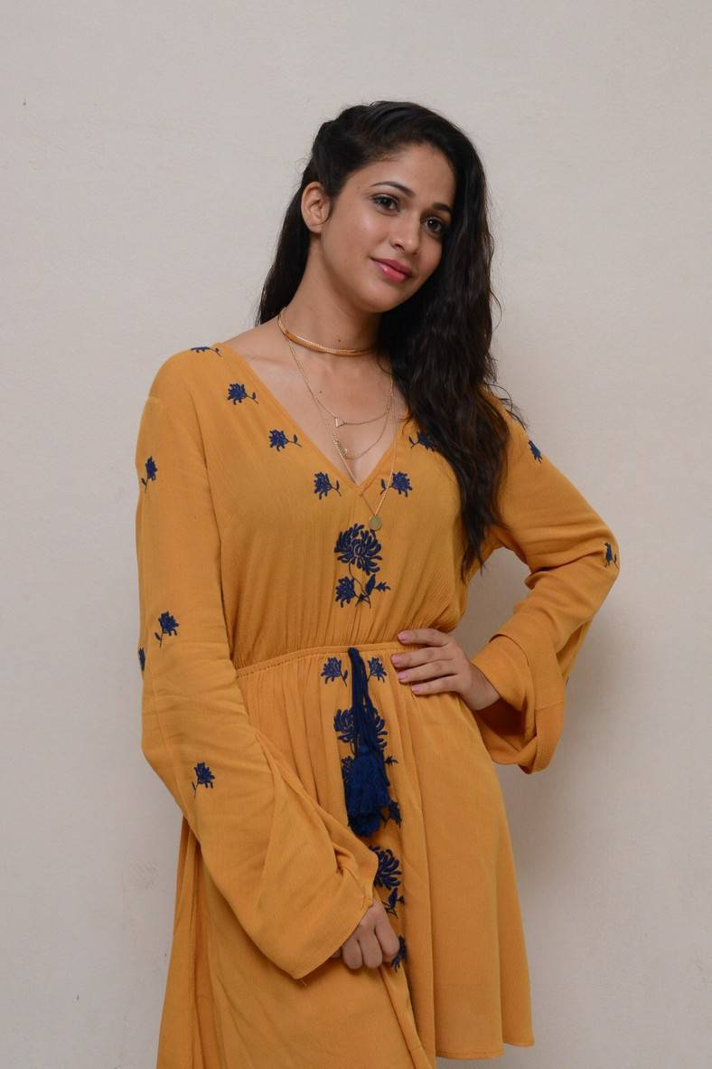 Lavanya Tripathi Images At Movie Trailer Launch In Yellow Dress