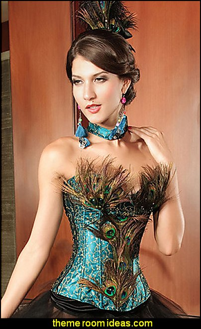 Strapless Peacock Corset    Fashion style clothing - cute designs - modern woman dress style - pretty fashion vintage style - fashion boutique - dresses - tops - jackets -  jeans - pants - party dress - womens clothes - girls clothes - Scarf necklace - decorate yourself