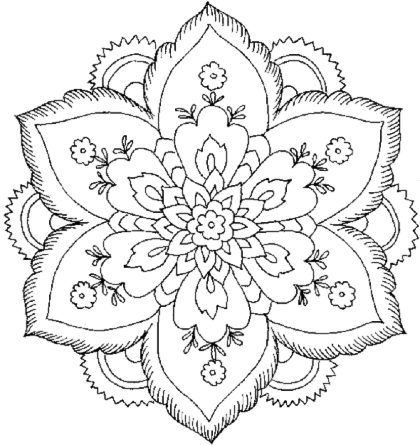 Mandala Or Flower Abstract Coloring Pages For Adults  Printable Kids Colouring  Pages
