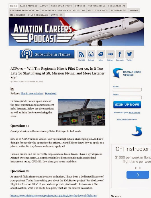 "A run in with ""Aviation Careers Podcast"""