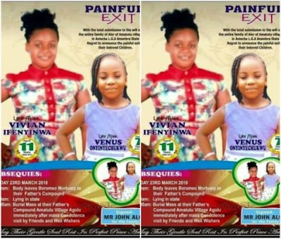 So sad! Stray bullets kill Two sisters in Anambra armed robbery incident