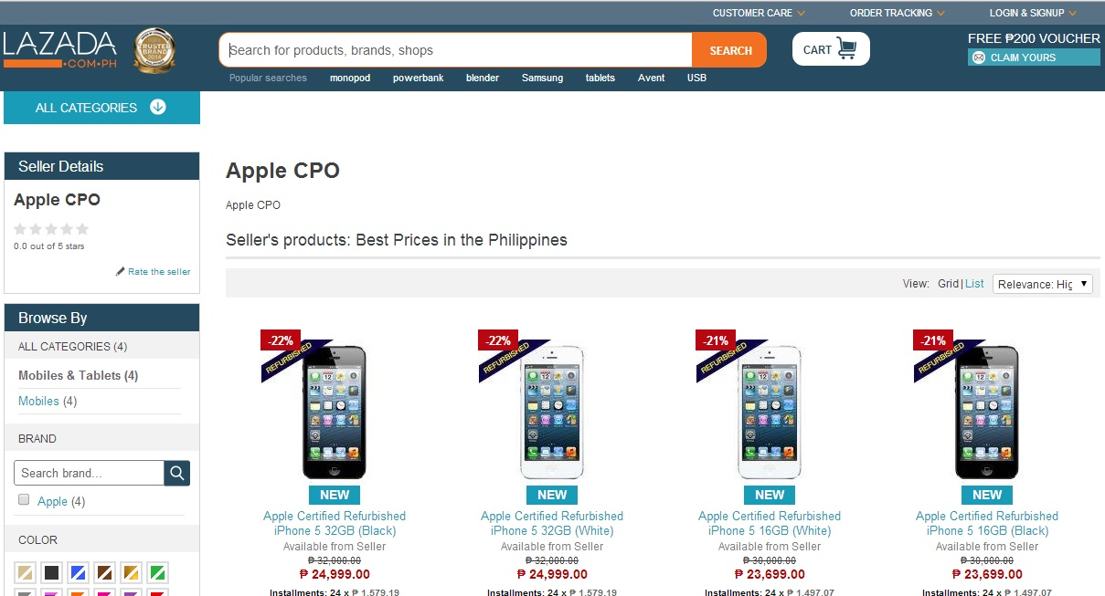 iPhone 5 Certified Pre-owned at Lazada Philippines