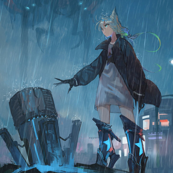 Girl in The Rain Wallpaper Engine