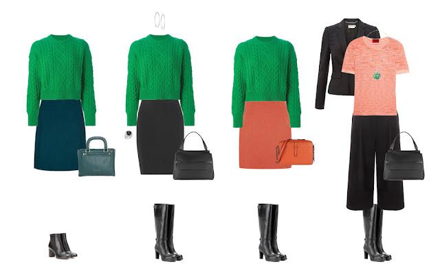 Комплекты капсульного гардероба с зеленым свитером