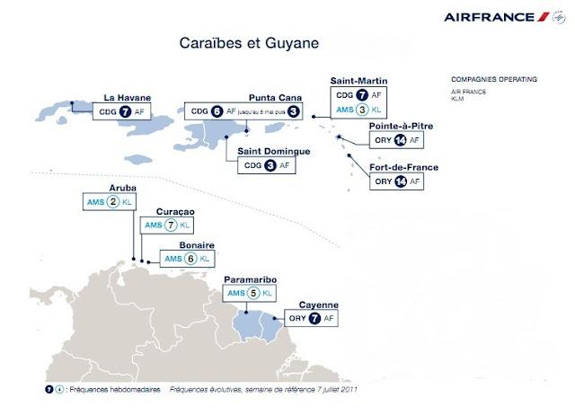 Destinations Air France aux Caraibes
