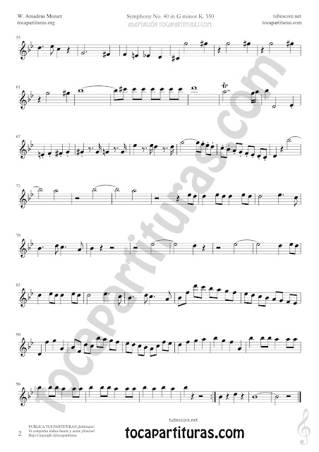 2 Partitura de Flauta Travesera o Traversa de Sinfonía Nº40 de Mozart Sheet Music for Flute Music Scores