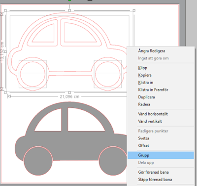 Silhouette Studio - separera och gruppera din design