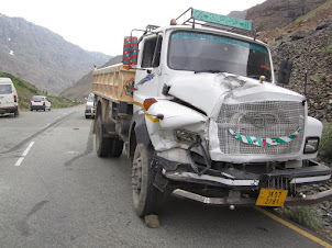 "Treacherous highway. Site of a accident on the Srinagar to Leh "" highway."