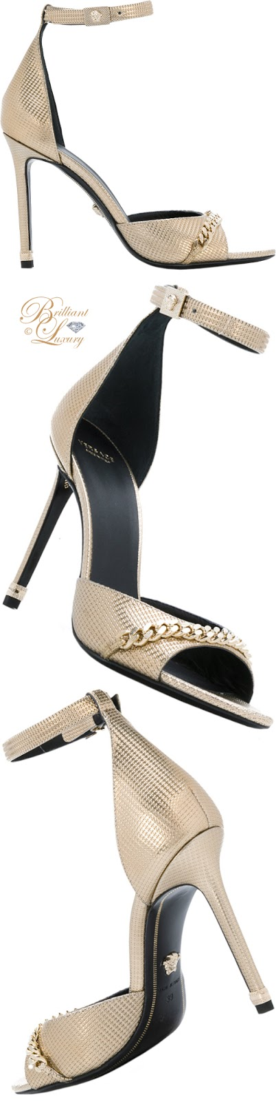 Brilliant Luxury ♦ Versace chain detail sandals