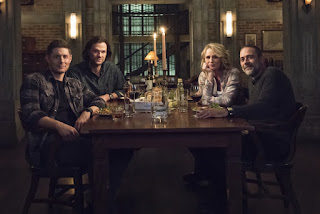 "Jensen Ackles as Dean Winchester, Jared Padalecki as Sam Winchester, Samantha Smith as Mary Winchester, Jeffrey Dean Morgan as John Winchester in Supernatural 14x13 ""Lebanon"""