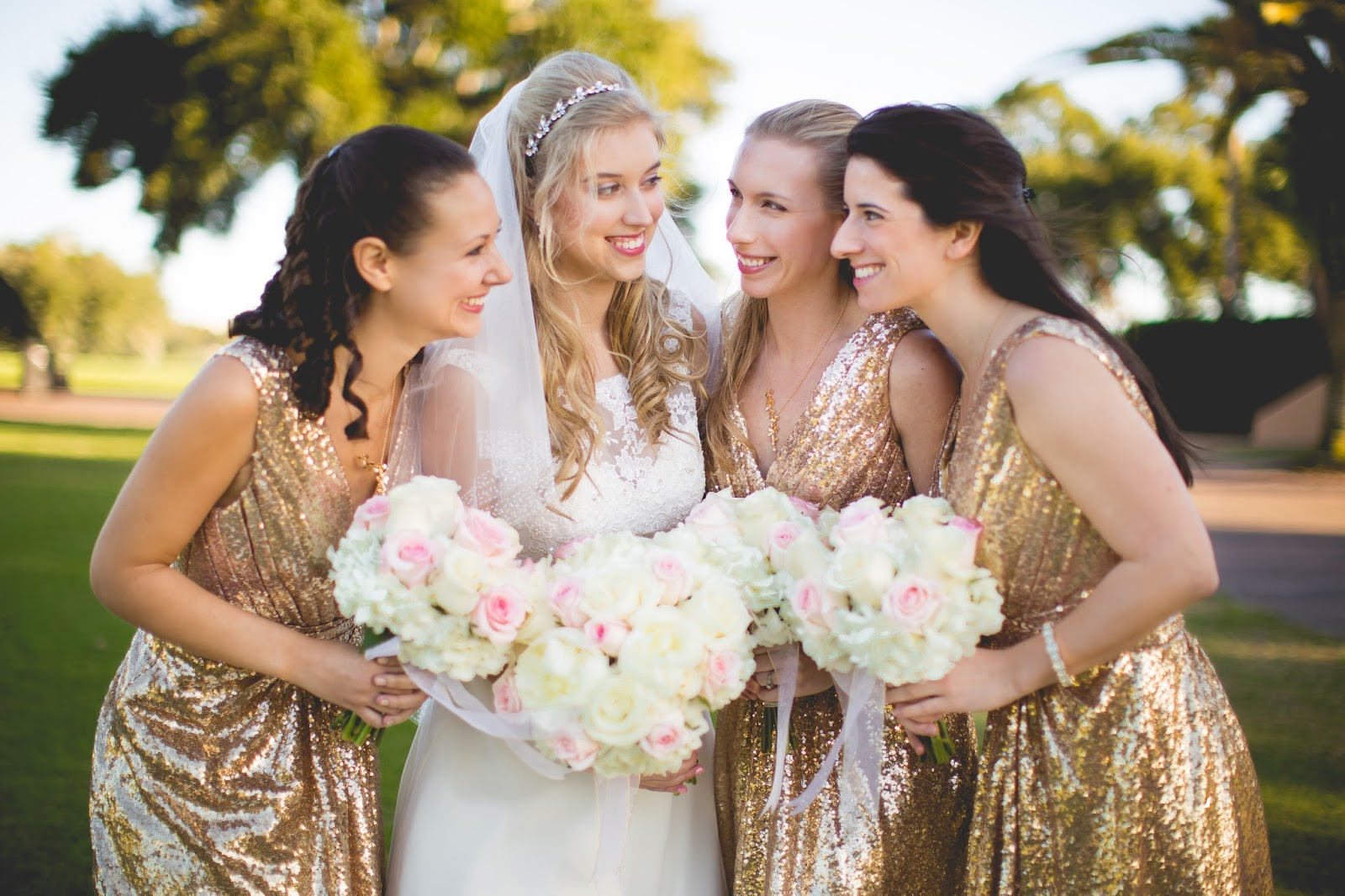 gold bridesmaids dress