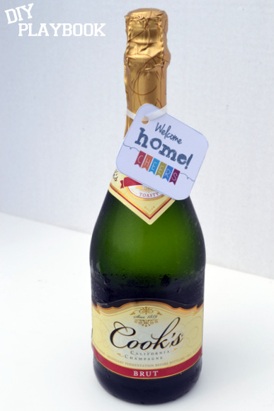 Leaving a little bottle of bubbly in your empty fridge is a great welcome home gift for the new tenants of your old place