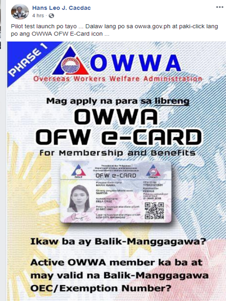 "The new OFW e-Card from Overseas Workers Welfare Administration (OWWA) has started its pilot test launch yesterday.  The OWWA OFW e-Card is now available for overseas Filipino workers (OFWs) with an existing contract who went back to their home country and are returning to the same employers abroad.       Ads     Sponsored Links  On a social media post made by OWWA Administrator Hans Leo Cacdac, he invites every OFW to visit the OWWA official website and participate in the pilot test launching of the OWWA e-Card.    The e-Card is now on its Phase 1 which means that the card is now available only for ""balik-manggagawa"".  For the OFWs to avail the card, all they have to do is to visit the site and click the OWWA e-Card banner.    A new window will open, an online application form where you will be asked to enter your personal information. Note that you need to have a valid OEC or exemption number in order to proceed with the application and you must be an active OWWA member.    You need to provide your full name, date of birth, contact number, passport number, your valid OEC/exemption number and where do you prefer to pick-up your OWWA OFW e-Card. After completely filling up the form correctly, click on ""accept data privacy policy"" and submit the application.    You can also track the delivery status of your e-card by clicking the banner as shown above. The site will provide a tracking number for you once your application is completed. You can use it for tracking your card delivery or you can simply key-in your passport number and your birth date.    Filed under the category of OFW e-Card, Overseas Workers Welfare Administration (OWWA),   overseas Filipino workers (OFWs),  employers abroad"