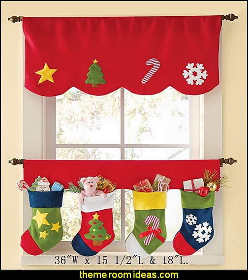 Christmas Stockings Window valance  Christmas decorating ideas - Christmas decor - Christmas decorations - Christmas kitchen decor - santa belly pillows - Santa Suit Duvet covers - Christmas bedding - Christmas pillows - Christmas  bedroom decor  - winter decorating ideas - winter wonderland decorating - Christmas Stockings Holiday decor Santa Claus - decorating for Christmas - 3d Christmas cards