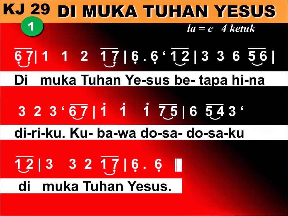 Kord Gitar Lagu Kidung Jemaat 29 Di Muka Tuhan Yesus