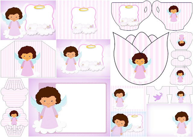 Brunette Angel Girl: Free Printable Invitations.